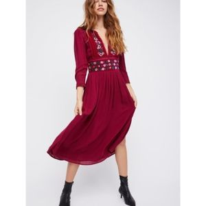 NWT Free People Embroidered Flora Midi Dress XS